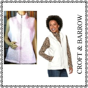 {Croft & Barrow} Plush zip-up vest, pink, sz XL